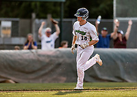 20 June 2021: Vermont Lake Monsters outfielder Sky Rahill, from Burlington, VT, rounds the bases after hitting his 8th inning home run during a game against the Westfield Starfires at Centennial Field in Burlington, Vermont. Rahill went 1 for 2 with his homer accounting for all the team scoring as the Lake Monsters fell to the Starfires 10-2 at Centennial Field, in Burlington, Vermont. Mandatory Credit: Ed Wolfstein Photo *** RAW (NEF) Image File Available ***