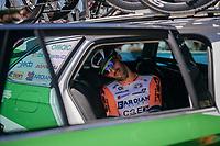 pre-stage relax moment for Nicola Boem (ITA/Bardiani-CSF)<br /> <br /> Stage 15: Valdengo › Bergamo (199km)<br /> 100th Giro d'Italia 2017