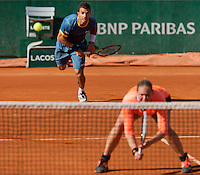 France, Paris, 04.06.2014. Tennis, French Open, Roland Garros, Jean-Julien Rojer (NED) with his mixed doubles partner Anna-Lena Groenfeld (GER)<br /> Photo:Tennisimages/Henk Koster