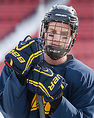 Brendan Ellis (Merrimack - 22) -  - The participating teams in Hockey East's first doubleheader during Frozen Fenway practiced on January 3, 2014 at Fenway Park in Boston, Massachusetts.