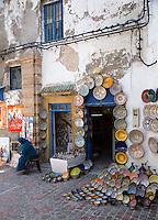 Essaouira, Morocco.  Ceramics Shop Displays its Wares.