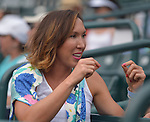 Jalena Jankovic watches from the stands as Danka Kovinic (MNE) loses to Andrea Petkovic (GER) 2-6, 6-3, 6-1  at the Family Circle Cup in Charleston, South Carolina on April 10, 2015.