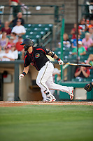Rochester Red Wings catcher Juan Graterol (50) grounds into a fielder's choice during a game against the Lehigh Valley IronPigs on September 1, 2018 at Frontier Field in Rochester, New York.  Lehigh Valley defeated Rochester 2-1.  (Mike Janes/Four Seam Images)