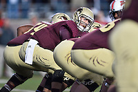 Texas State quarterback Tyler Jones (2) during first half of an NCAA football game, Tuesday, October 14, 2014 in San Marcos, Tex. Louisana Lafayette leads 21-3 at the halftime. (Mo Khursheed/TFV Media via AP Images)