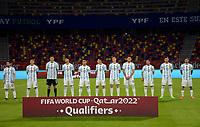 3rd June 2021; Estadio Único de Santiago del Estero, Santiago del Estero, Argentina; World Cup football qualification, Argentina versus Chile;  Players of Argentina stand to hear their anthem