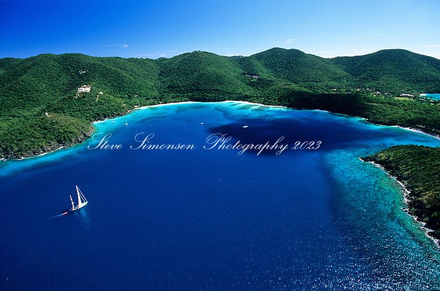 Hawksnest Bay Aerial.Virgin Islands National Park.St. John, US Virgin Islands