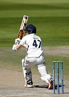 29th May 2021; Emirates Old Trafford, Manchester, Lancashire, England; County Championship Cricket, Lancashire versus Yorkshire, Day 3; Dom Bessof Yorkshire hits out off the bowling of Tom Bailey of Lancashire