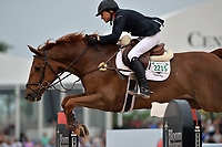 WELLINGTON, FL - APRIL 02: (EMBARGOED TILL 04/05/16)The  $130,000 SUNCAST 1.5M Classic - Round 2. The Winter Equestrian Festival (WEF) is the largest, longest running hunter/jumper equestrian event in the world held at the Palm Beach International Equestrian Center on April 2, 2016  in Wellington, Florida.<br /> <br /> <br /> People:  Laura Chapot