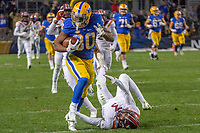 Pitt running back Qadree Ollison (30) runs over Virginia Tech defensive back Caleb Farley (3) and makes a 97-yard touchdown run that is a Pitt record as The Pitt Panthers defeated the Virginia Tech Hokies 52-22 on November 10, 2018 at Heinz Field in Pittsburgh, Pennsylvania.