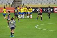 São Paulo (SP), 27/11/2020 - Brasil-Equador - Duda comemora o gol do Brasil. Brasil e Equador em amistoso internacional, a partida realizada na Neo Química Arena em São Paulo, nesta sexta-feira (27), marca o retorno da Seleção Brasileira Feminina após oito meses sem jogos internacionais.