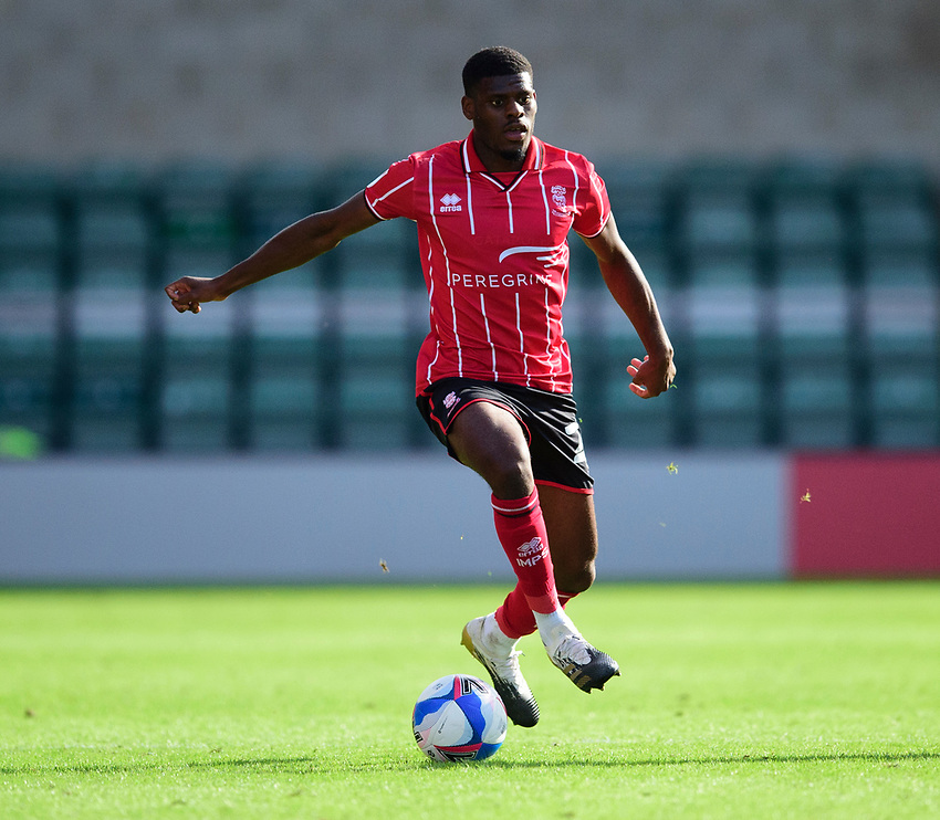 Lincoln City's Timothy Eyoma<br /> <br /> Photographer Andrew Vaughan/CameraSport<br /> <br /> The EFL Sky Bet League One - Saturday 12th September  2020 - Lincoln City v Oxford United - LNER Stadium - Lincoln<br /> <br /> World Copyright © 2020 CameraSport. All rights reserved. 43 Linden Ave. Countesthorpe. Leicester. England. LE8 5PG - Tel: +44 (0) 116 277 4147 - admin@camerasport.com - www.camerasport.com - Lincoln City v Oxford United