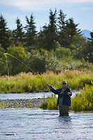Fly fishing in the Brooks River, Katmai National Park, Alaska.