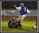 18/01/2003                   Copyright Pic : James Stewart.File Name : stewart-alloa v qots05.MYLES HOGARTH SAVES AT THE FEET OF STEVE BOWEY....James Stewart Photo Agency, 19 Carronlea Drive, Falkirk. FK2 8DN      Vat Reg No. 607 6932 25.Office     : +44 (0)1324 570906     .Mobile  : +44 (0)7721 416997.Fax         :  +44 (0)1324 570906.E-mail  :  jim@jspa.co.uk.If you require further information then contact Jim Stewart on any of the numbers above.........