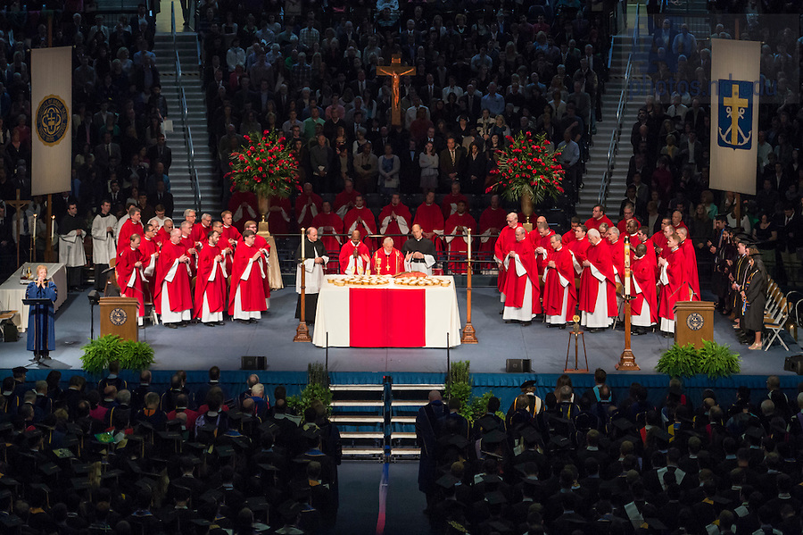 May 14, 2016; 2016 Commencement Mass with Cardinal Wuerl, the archbishop of Washington, D.C. (Photo by Barbara Johnston/University of Notre Dame)