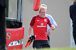 Wales football player Jonathan Williams hits his head on the team bus wing mirror as he  leaves the bus as he arrives at training at the Vale Resort near Cardiff today.