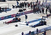 Nov 1, 2020; Las Vegas, Nevada, USA; NHRA top fuel driver Billy Torrence (left) alongside Cameron Ferre during the NHRA Finals at The Strip at Las Vegas Motor Speedway. Mandatory Credit: Mark J. Rebilas-USA TODAY Sports