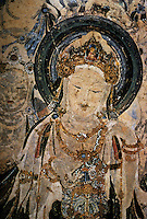"Chinese Buddhist Art:  ""Bodhisativa"",  Early Tang (7th C.)  This Bodhisativa attendant stands to the right of Buddha in a cave mural. ""she""-for it must be a  she--wears an especially ornate coronet the peak of which shows a small buddha.  CHINESE PAINTING, Torao Miyagamwa, 1985."