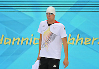 August 01, 2012..Yannick Lebherz arrives to compete in Men's 200m Backstroke Semifinal at the Aquatics Center on day five of 2012 Olympic Games in London, United Kingdom.