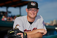 Tri-City ValleyCats pitcher Derek West (48) poses for a photo before a NY-Penn League game against the Brooklyn Cyclones on August 17, 2019 at MCU Park in Brooklyn, New York.  The game was postponed due to inclement weather, Brooklyn defeated Tri-City 2-1 in the continuation of the game on August 18th.  (Mike Janes/Four Seam Images)