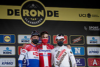 Kasper Asgreen (DEN/Deceuninck - Quick Step) wins the 105th Ronde van Vlaanderen 2021 (MEN1.UWT)<br /> Mathieu Van der Poel (NED/Alpecin-Fenix) finishes 2nd & Greg Van Avermaet (BEL/AG2R Citroën) 3rd<br /> <br /> 1 day race from Antwerp to Oudenaarde (BEL/264km) <br /> <br /> ©kramon