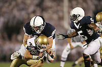 State College, PA -- 09/8/2007 -- Linebacker Dan Connor (40), along with Jerome Hayes (5), sacks Notre Dame quarterback Jimmy Clausen (7).  Clausen was sacked 6 times during the game.  Penn State defeated Notre Dame by a score of 31-10 on Saturday, September 8, 2007, at Beaver Stadium.    ..Photo:  Joe Rokita / JoeRokita.com