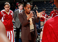 CHARLOTTESVILLE, VA- December 1: Head coach Felisha Legette-Jack of the Indiana Hoosiers talks with her team before the game against the Virginia Cavaliers on December 1, 2011 at the John Paul Jones Arena in Charlottesville, Virginia. Virginia defeated Indiana 65-49. (Photo by Andrew Shurtleff/Getty Images) *** Local Caption *** Felisha Legette-Jack