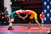 STANFORD, CA - March 7, 2020: Joshy Cortez of Cal Poly and Joshua Maruca of Arizona State University during the 2020 Pac-12 Wrestling Championships at Maples Pavilion.