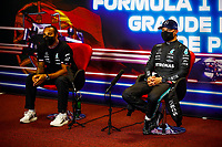 1st May 2021; Algarve International Circuit, in Portimao, Portugal; F1 Grand Prix of Portugal, qualification sessions;  HAMILTON Lewis gbr, Mercedes AMG F1 GP W12 E Performance and pole sitter BOTTAS Valtteri fin, Mercedes AMG F1 GP W12 E Performance