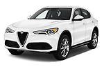 2018 Alfa Romeo Stelvio Ti 5 Door SUV angular front stock photos of front three quarter view