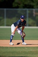 Michael Brooks during the WWBA World Championship at the Roger Dean Complex on October 20, 2018 in Jupiter, Florida.  Michael Brooks is a shortstop from Wellington, Florida who attends Palm Beach Central High School and is committed to Arkansas.  (Mike Janes/Four Seam Images)