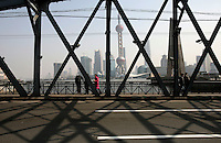 A view of Pudong through a bridge in Shanghai, China..07 Feb 2006