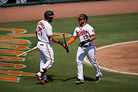 Baltimore Orioles Yolmer Sanchez (13) fist bumps Anthony Santander (25) after scoring a run during a Major League Spring Training game against the Philadelphia Phillies on March 12, 2021 at the Ed Smith Stadium in Sarasota, Florida.  (Mike Janes/Four Seam Images)
