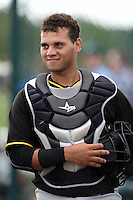 Pittsburgh Pirates catcher Yoel Gonzalez (41) during minor league spring training on March 23, 2015 at Pirate City in Bradenton, Florida.  (Mike Janes/Four Seam Images)