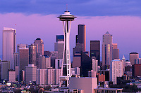 Washington, Seattle Skyline And Space Needle At Sunset From Queen Anne Hill
