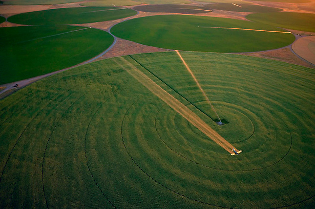 Crop duster over Irrigated circular fields