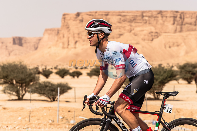 Valerio Conti (ITA) UAE-Team Emirates in action during Stage 1 of the Saudi Tour 2020 running 173km from Saudi Arabian Olympic Committee to Jaww, Saudi Arabia. 4th February 2020. <br /> Picture: ASO/Kåre Dehlie Thorstad | Cyclefile<br /> All photos usage must carry mandatory copyright credit (© Cyclefile | ASO/Kåre Dehlie Thorstad)
