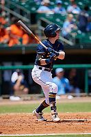 Montgomery Biscuits shortstop Jake Cronenworth (3) follows through on a swing during a game against the Biloxi Shuckers on May 8, 2018 at Montgomery Riverwalk Stadium in Montgomery, Alabama.  Montgomery defeated Biloxi 10-5.  (Mike Janes/Four Seam Images)
