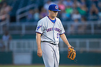 South Bend Cubs relief pitcher Garrett Kelly (37) walks off the field between innings of the game against the Lansing Lugnuts at Cooley Law School Stadium on June 15, 2018 in Lansing, Michigan. The Lugnuts defeated the Cubs 6-4.  (Brian Westerholt/Four Seam Images)