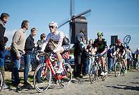 Jasper Stuyven (BEL/Trek Factory-Segafredo) racing over the cobbles of the first cobbled section of the day: : the Huisepontweg <br /> <br /> 100th Ronde van Vlaanderen 2016