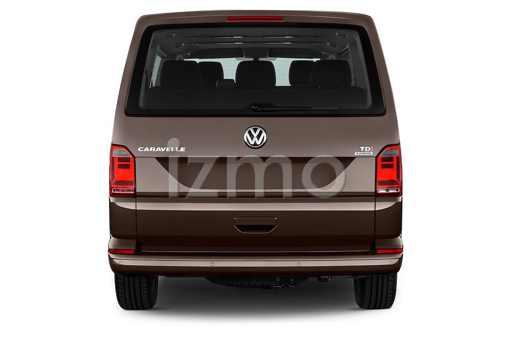 Straight rear view of 2016 Volkswagen Caravelle Comfortline 5 Door Minivan Rear View  stock images