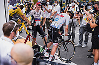 stage winner Matej Mohoric (SVK/Bahrain-Victorius) and Tadej Pogacar (SVN/UAE-Emirates) with a post stage chat<br /> <br /> Stage 7 from Vierzon to Le Creusot (249.1km)<br /> 108th Tour de France 2021 (2.UWT)<br /> <br /> ©kramon