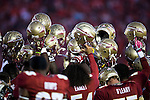 The FSU Seminoles gather prior to the start of the BCS national title game at the Rose Bowl in Pasadena, California on January 6, 2014.   The Florida State Seminoles defeated the Auburn Tiger 34-31 to win the final BCS National Championship.