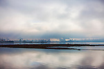 Foggy image of industrial waterfront of Tacoma, Washington.  Commencement Bay.