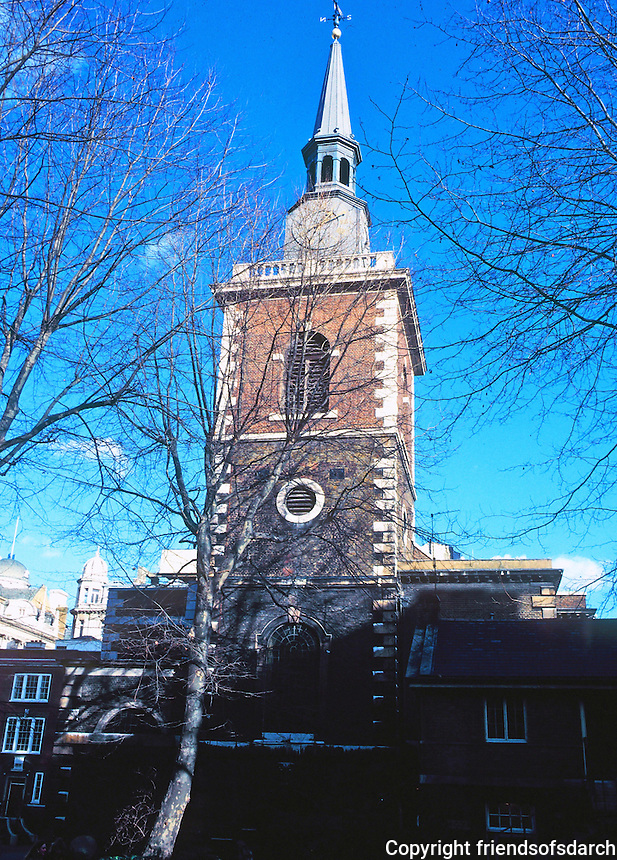 Sir Christopher Wren: St. James, Picadilly 1676-1684. Square tower, 1700; a new spire supplied in 1968. Church was badly damaged in WWII. Photo '90.
