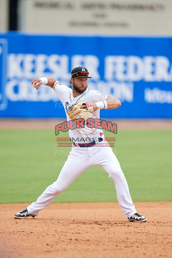 Biloxi Shuckers third baseman Weston Wilson (2) throws to first base during a Southern League game against the Montgomery Biscuits on May 8, 2019 at MGM Park in Biloxi, Mississippi.  Biloxi defeated Montgomery 4-2.  (Mike Janes/Four Seam Images)