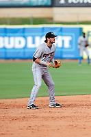 Rocket City Trash Pandas shortstop Gavin Cecchini (6) on defense against the Tennessee Smokies at Smokies Stadium on July 2, 2021, in Kodak, Tennessee. (Danny Parker/Four Seam Images)