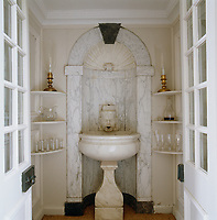 Designed by John Harvey, this marble niche is fed with water by a system of ropes and pulleys