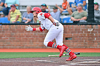 Johnson City Cardinals left fielder Walker Robbins (25) runs to first base during a game against the Bristol Pirates at TVA Credit Union Ballpark on June 23, 2017 in Johnson City, Tennessee. The Pirates defeated the Cardinals 4-3. (Tony Farlow/Four Seam Images)