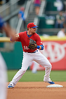 Buffalo Bisons shortstop Shane Opitz (16) during a game against the Indianapolis Indians on August 17, 2017 at Coca-Cola Field in Buffalo, New York.  Buffalo defeated Indianapolis 4-1.  (Mike Janes/Four Seam Images)
