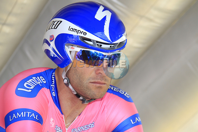 Alessandro Petacchi (ITA) Lampre-ISD waits on the start ramp of the Prologue of the 99th edition of the Tour de France 2012, a 6.4km individual time trial starting in Parc d'Avroy, Liege, Belgium. 30th June 2012.<br /> (Photo by Eoin Clarke/NEWSFILE)